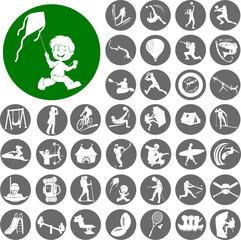 Outdoor activities icon set. Vector Illustration eps10