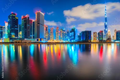 Dubai skyline at dusk, Dubai. - 71194976
