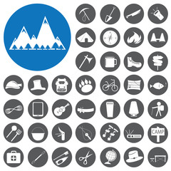 Camping Hiking and recreation icons set. Vector Illustration eps