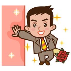 壁に寄り掛かり薔薇を持ったビジネスマン