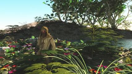 Desert dweller shelters in oasis