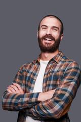 Happy bearded man.