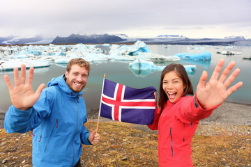 Icelandic flag - tourists on Jokulsarlon, Iceland