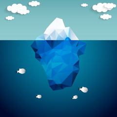 Vector illustration of iceberg and clouds