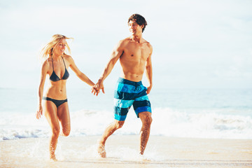 Attractive Happy Couple Running and Playing