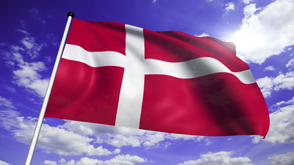 flag of Denmark with fabric structure against a cloudy sky