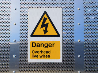 Danger overhead wires sign