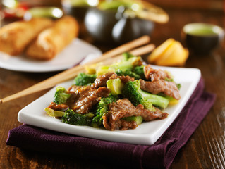 chinese beef and broccoli  stir fry with sides