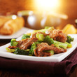 stirfried chinese beef and broccoli dish with warm glow