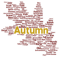 Autumn word cloud shape