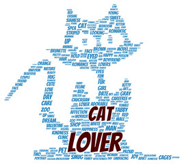 Cat lover word cloud shape