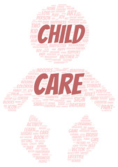 Child care word cloud shape