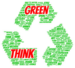 Think Green word cloud shape