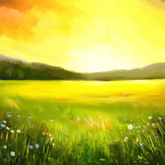 Autumn sundown landscape painting