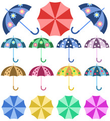 Set opened colorful umbrellas rain