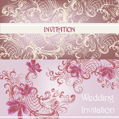 Set of wedding invitation cards in purplecolor