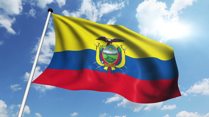 flag of Ecuador with fabric structure against a cloudy sky