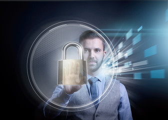 Businessman showing virtual security