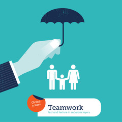 Vector hand protecting a family with an umbrella