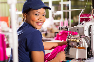 female african clothing factory worker