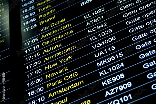 Departures flight information schedule in international airport - 71198119