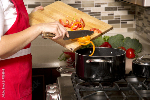 canvas print picture woman in the kitchen