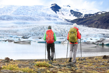 Hikers - people on adventure travel on Iceland