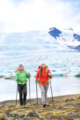 Adventure hiking travel people on Iceland