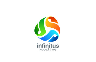 Logo triple Media business technology abstract vector design