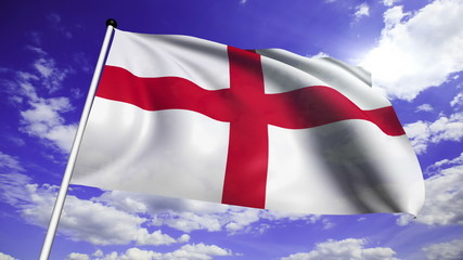 flag of England with fabric structure against a cloudy sky