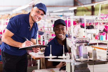 textile factory manager and worker