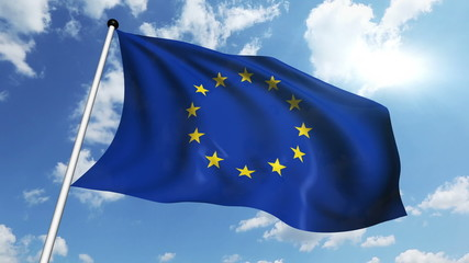 flag of the European Union against a cloudy sky