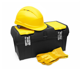 Safety Helmet, Gloves, and Toolbox