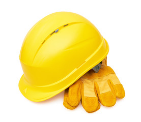 Yellow safety helmet and Protective gloves