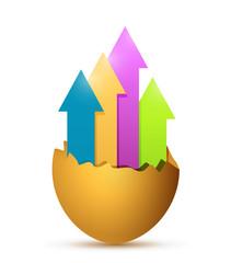 up arrows inside an egg. illustration