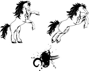 horse sticker tattoo set vector