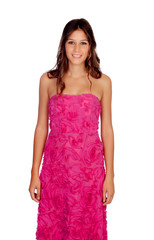 Beautiful girl with elegant pink dress