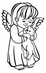 Angel with pet outline
