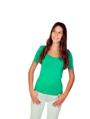 Atrractive young girl in green