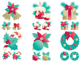 Vector icons set  of Christmas decorations