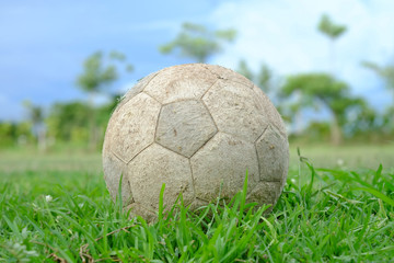 Old football on the ground