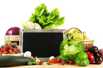 Fresh organic vegetables with chalkboard
