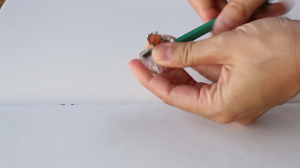 How To Sharpening Broken Green Pencil, Stock Video