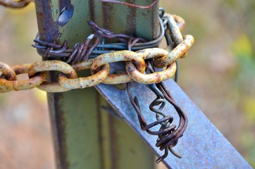 Old Chain locking a fence