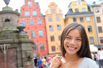 Woman portrait in Europe, Stortorget, Stockholm