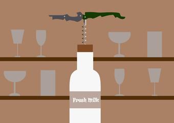Milk bottle open by Corkscrew Vector illustration