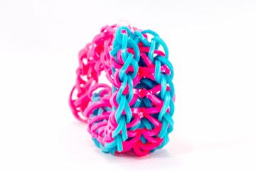 close up of bracelets made with rubber loom bands