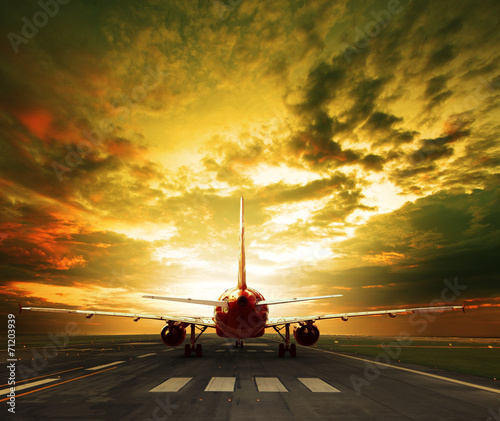 Fototapeta passenger plane ready to take off on airport runways use for tra