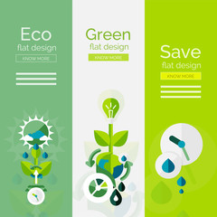 Set of flat design eco concepts