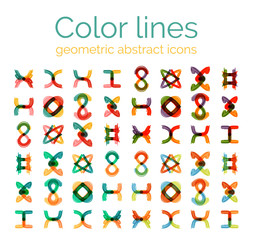 Color line design abstract icons, collection